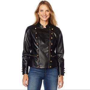 Leather military jacket-Coat of arms-Large
